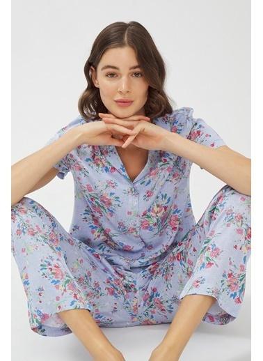 Penti Oil Baskılı Pijama Takımı Mavi